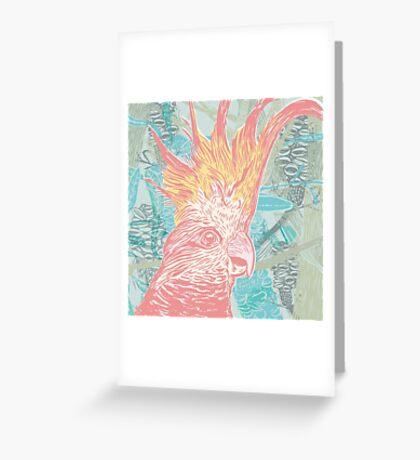 Cockatoo - linocut print Greeting Card