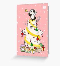 Panda And Polar Bear Christmas Tree Greeting Card