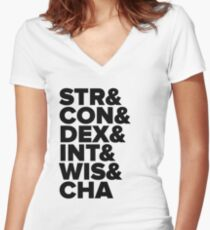 D&D Characteristics Abbreviated Women's Fitted V-Neck T-Shirt