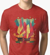 Happy Father's Day Cubist Abstract of Junk Sails and Ocean Skies Tri-blend T-Shirt