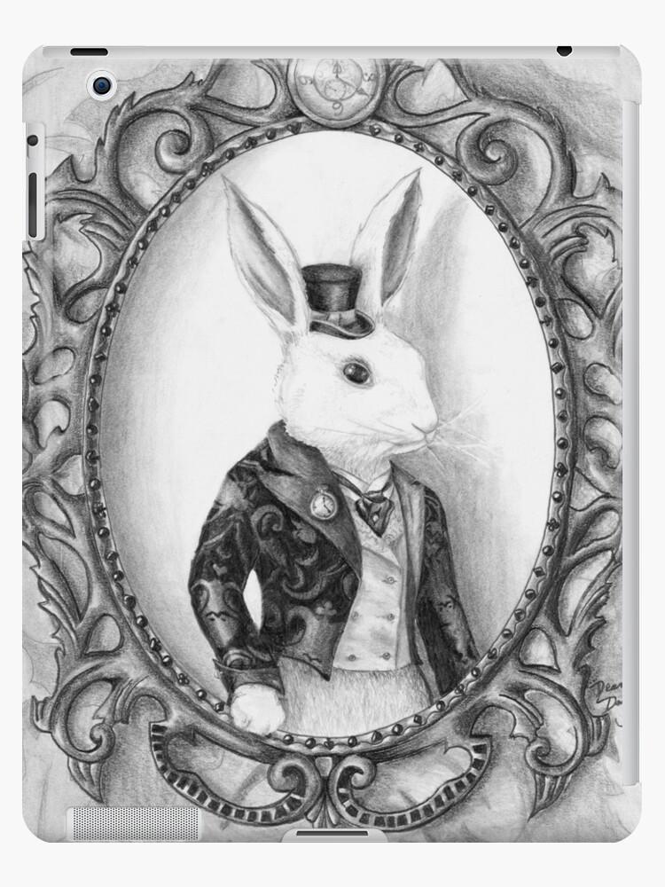 White Rabbit Art Alice In Wonderland Art Bunny Art Ipad Case Skin By Deannadavoli Redbubble