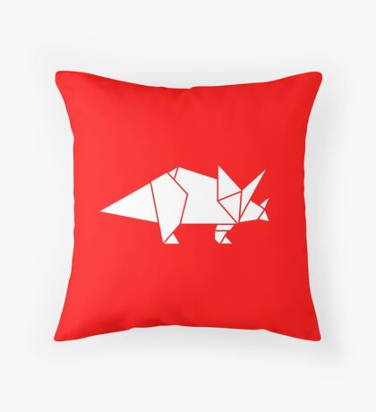 Prehistoric Origami - Triceratops  Throw Pillow