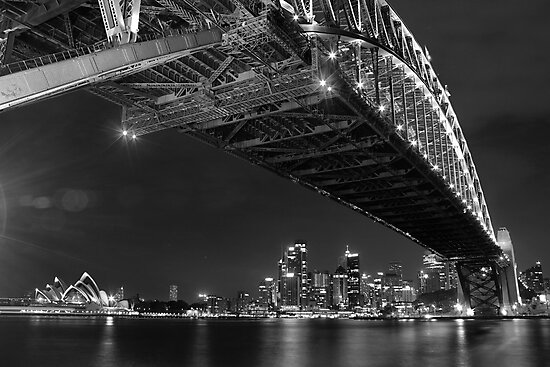 Sydney Harbour Bridge and Opear House B&W by Andrew  MCKENZIE