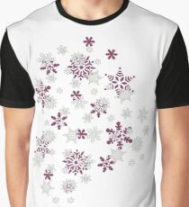 Pink and White Snowflakes With Transparent Background Graphic T-Shirt