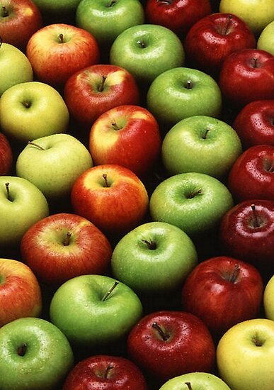 Red and Green Apples Displayed In A Pattern by taiche