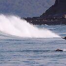 Surfing Dolphin Style - Newcastle Beach NSW Australia by Bev Woodman