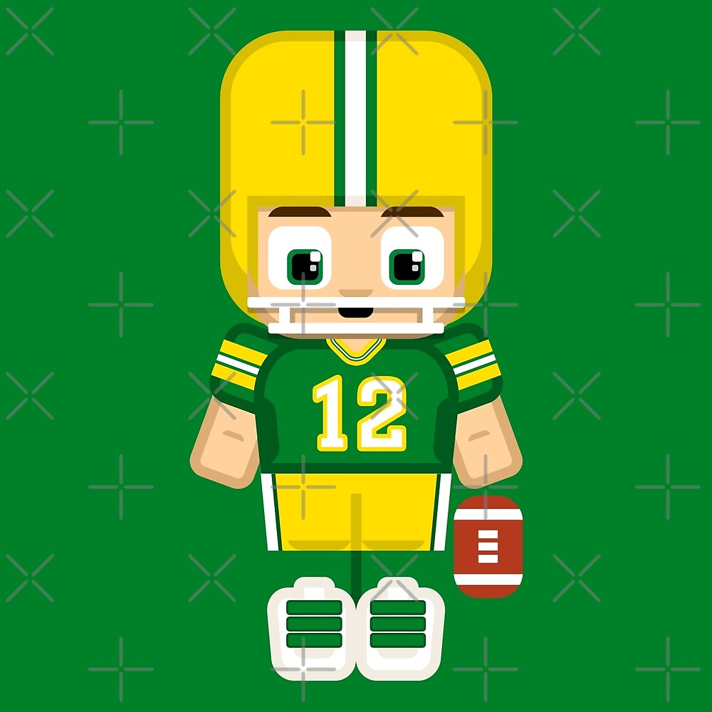 Super cute sports stars - American Football Green and Yellow by boxedspaper