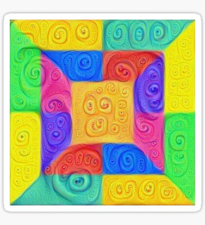 DeepDream Color Squares Visual Areas 5x5K v12 Sticker