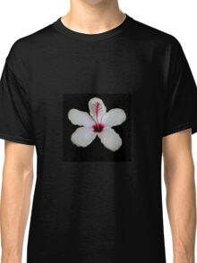 White Hibiscus Isolated on Black Background Classic T-Shirt