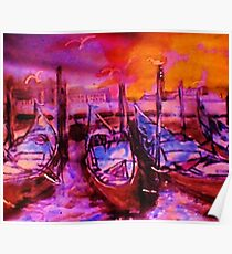 The Venice  Gondolas, watercolor Poster