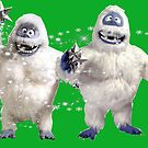 Abominable Snowman couple at christmas on green  by Kiwiana Art Mandii Pope