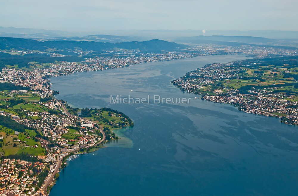 Lake Zurich from a plane. by Michael Brewer