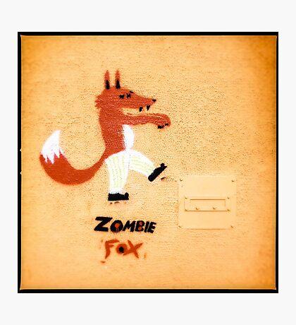 Zombie Fox Stencil Graffiti. Photographic Print