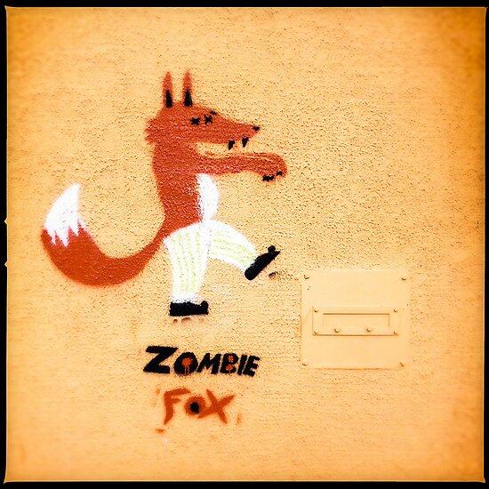 Zombie Fox Stencil Graffiti. by eyeshoot