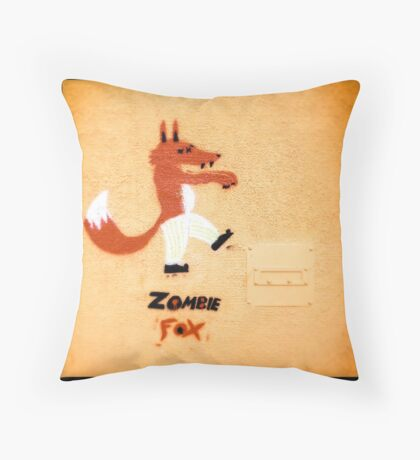 Zombie Fox Stencil Graffiti. Throw Pillow