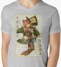 Mad Hatter Joker Card Men's V-Neck T-Shirt