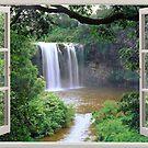 Open window view to waterfall by leksele