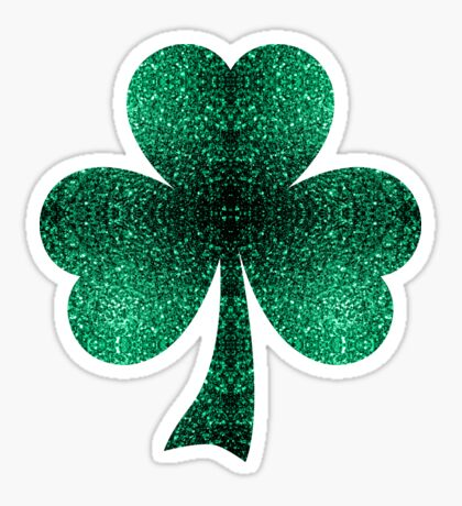 Emerald green shamrock clover sparkles Sticker