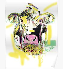 Pillow cow Happy Poster