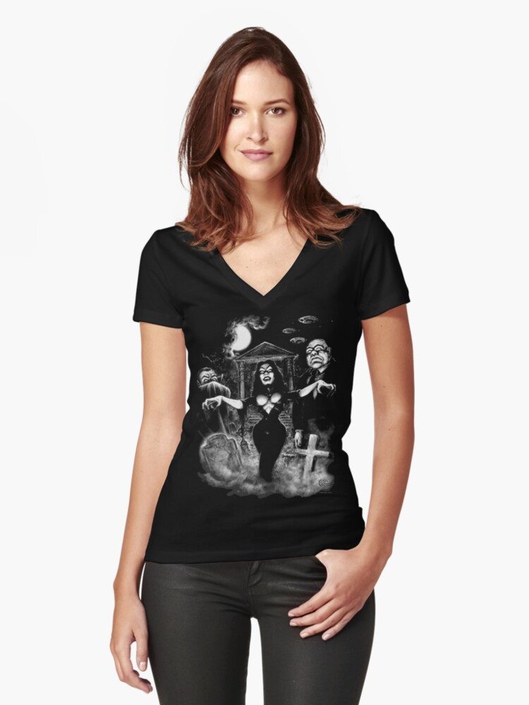 Vampira Plan 9 zombies Women's Fitted V-Neck T-Shirt Front