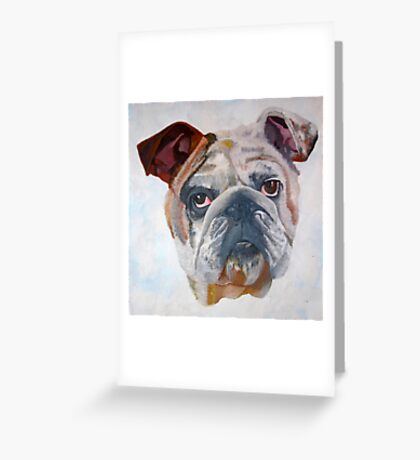 American Bulldog Portrait: Yale Mascot Greeting Card