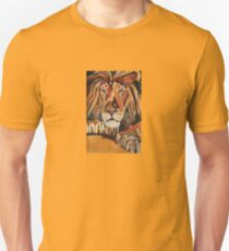 Relaxed Lion Portrait in Cubist Style Unisex T-Shirt