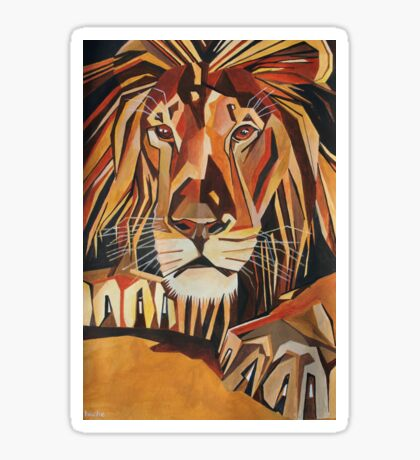 Relaxed Lion Portrait in Cubist Style Sticker