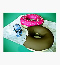Doghnuts and Toy Robot Photographic Print