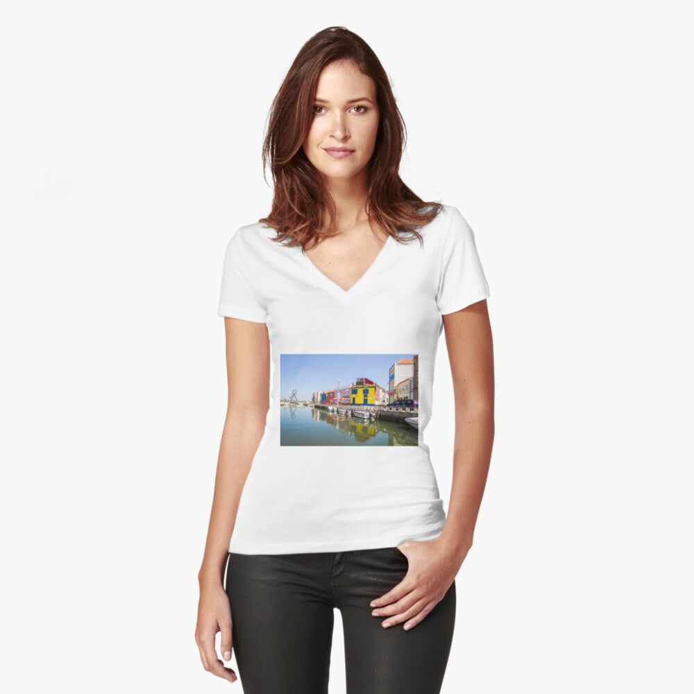 You can't miss it... Women's Fitted V-Neck T-Shirt Front