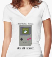 Old School Gameboy. Women's Fitted V-Neck T-Shirt