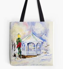 Christmas Gazebo Snow Scene Tote Bag