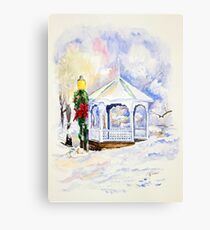 Christmas Gazebo Snow Scene Metal Print