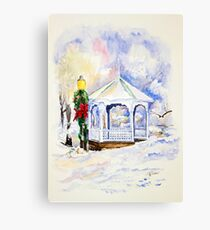 Christmas Gazebo Snow Scene Canvas Print