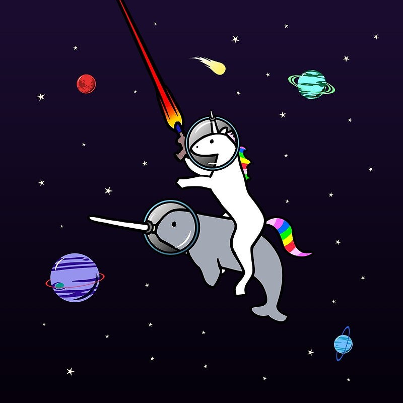 u0026quot;Unicorn Riding Narwhal In Spaceu0026quot; Posters by jezkemp ...