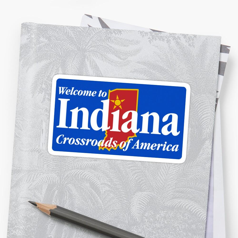 Bienvenido a Indiana Road Sign Pegatina