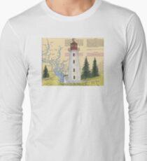 Cape Mudge Lighthouse BC Canada Nautical Map Cathy Peek Long Sleeve T-Shirt