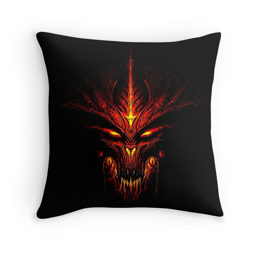 """Evil Fire Dragon: """"Evil Fire Dragon Design"""" Throw Pillows By LuckDragonGifts"""