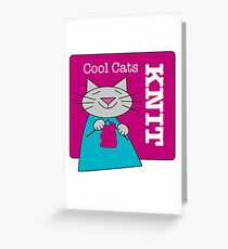 Cool Cats Knit Pink Greeting Card