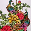 Peacocks amidst Peonies by George Hunter