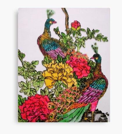 Peacocks amidst Peonies Canvas Print