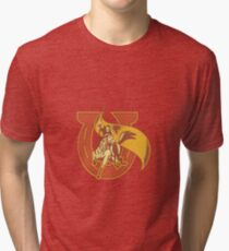 Rodeo Cowboy Riding Horse With Flag Horseshoe Tri-blend T-Shirt
