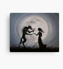 Wolf With The Red Roses Canvas Print