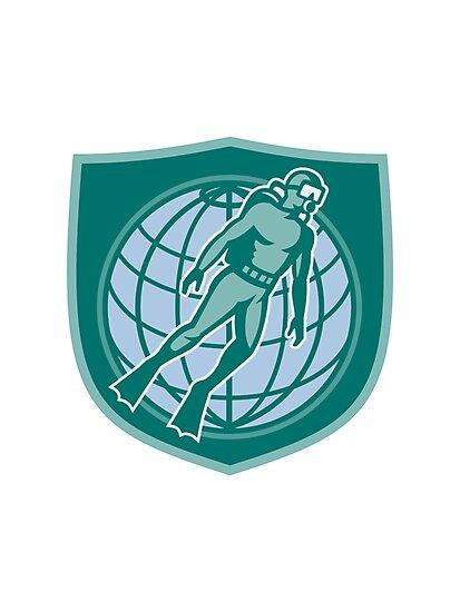 Scuba Diver Diving Dive World Shield by patrimonio