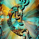 Kokopelli Turquoise and Gold by Vicki Pelham