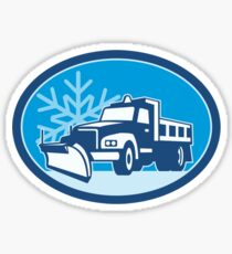 Snow Plow Truck Retro Sticker