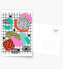 Posse - 1980's style throwback retro neon grid pattern shapes 80's memphis design neon pop art Postcards