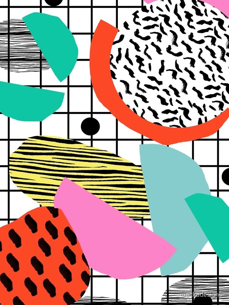 Posse - 1980's style throwback retro neon grid pattern shapes 80's memphis design neon pop art by wackadesigns