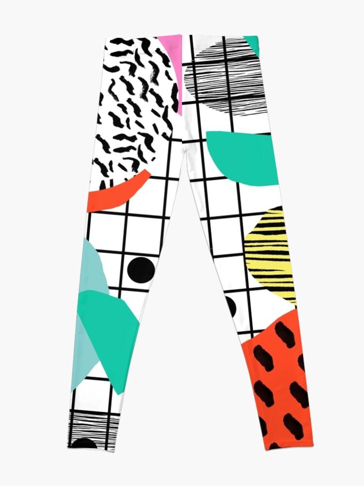 Alternate view of Posse - 1980's style throwback retro neon grid pattern shapes 80's memphis design neon pop art Leggings
