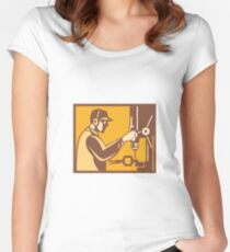 Factory Worker Operator With Drill Press Retro Women's Fitted Scoop T-Shirt