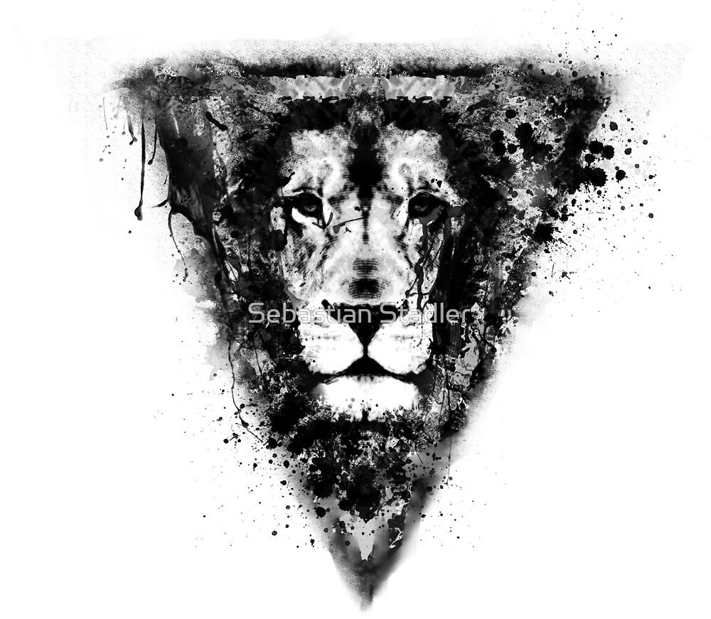 Cool Lion Head Design in Black Ink by Sebastian Stadler